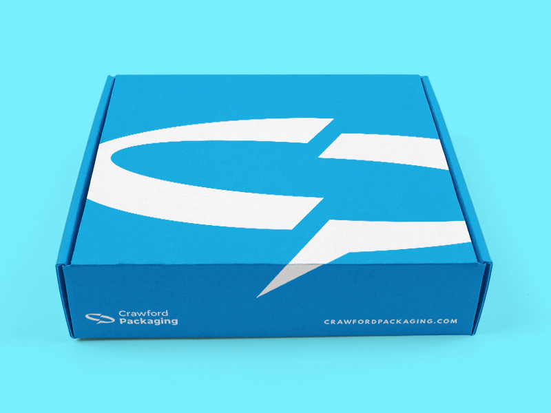 custom printed shipping box with blue link and crawford branding
