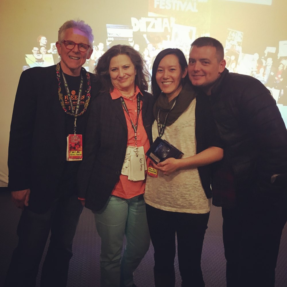 Festival Directors Don and Katha Cato with Anne Hu, Tom Lacey, and the Cake Special Jury Prize