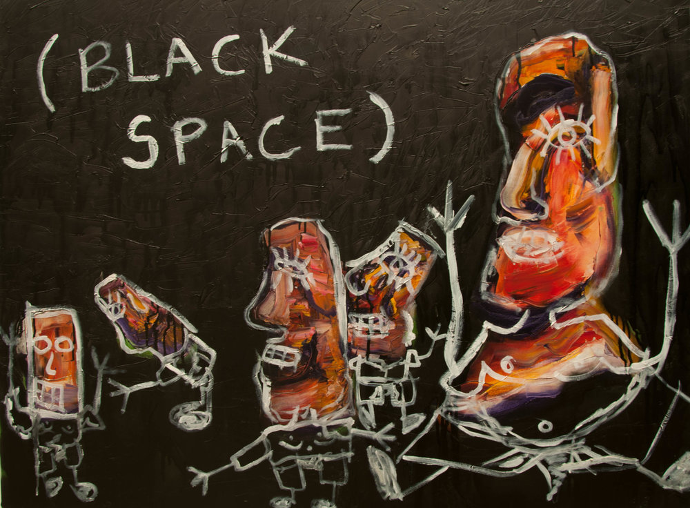 "Black Space, Oil and Spray Paint on Canvas, 42"" x 24"", 2017"