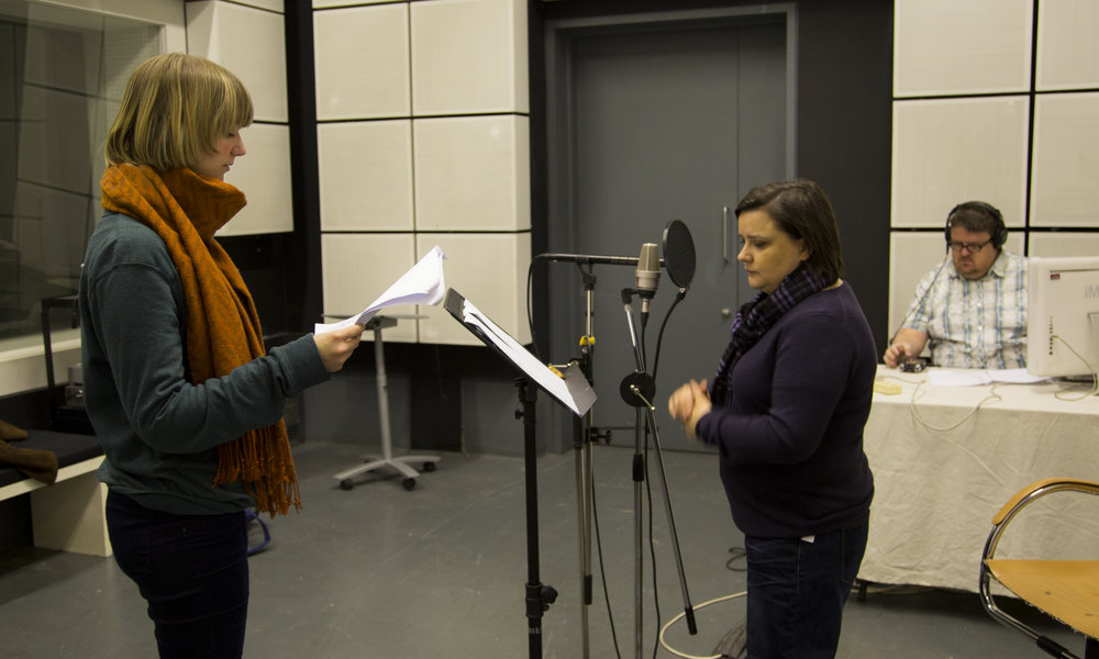 Recording the voice over with Susan Calman