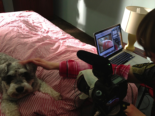Filming with Wilda the dog
