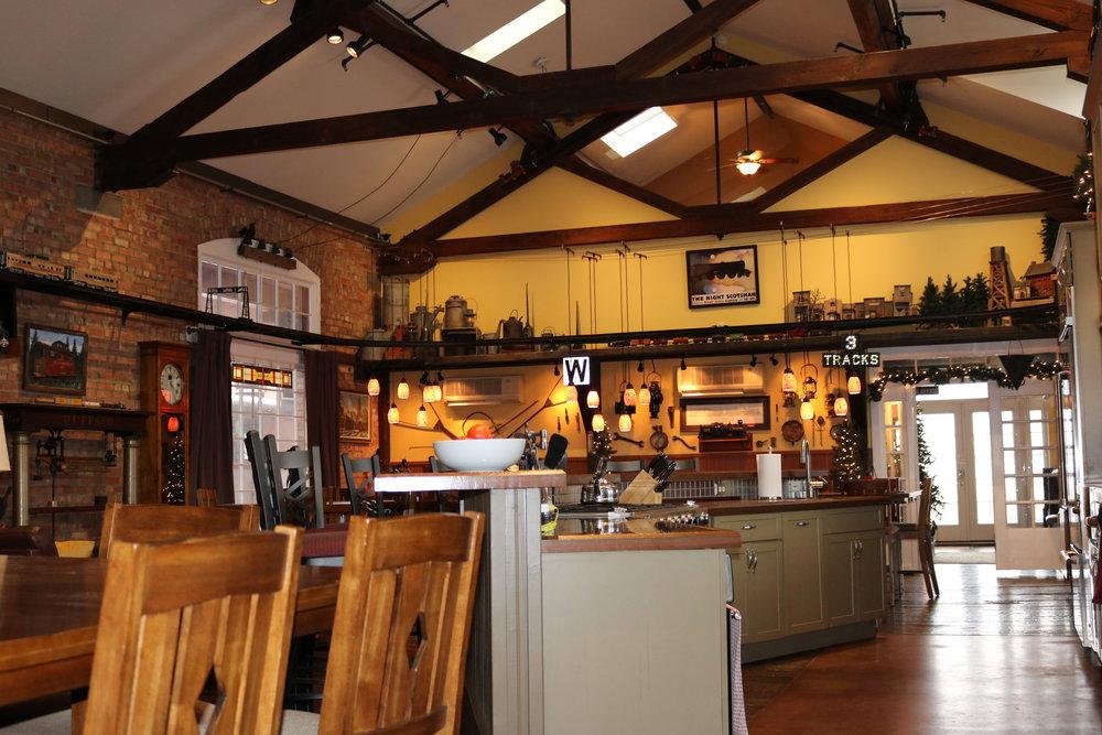 Lounge has large open kitchen