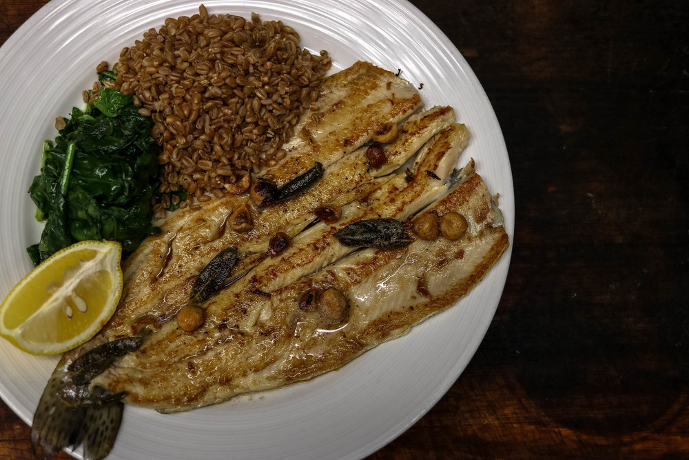 Rainbow Trout:  brown butter, hazelnuts, and sage with sauteed spinach and farro.....My favorite dish; the trout is super-fresh!!!