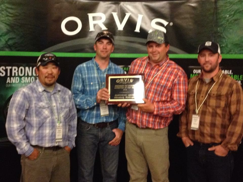 Ellensburg Angler accepting the 2016 Orvis-endorsed Fly Fishing Outfitter of the Year