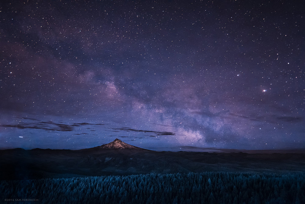 The Milky Way rises over Mt. Hood. Photographed atop Larch Mountain near the Columbia River Gorge, Oregon. Still image from Invisible Oregon time-lapse sequence. IR converted Nikon D750.  © 2016 Sam Forencich
