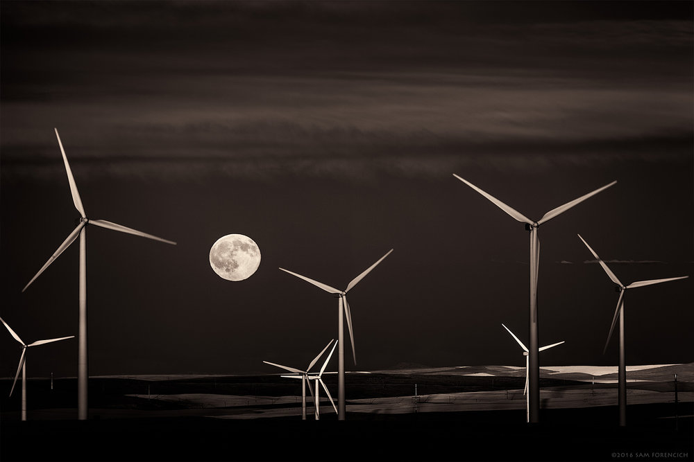 A full moon rises over the Columbia Plateau in Central Oregon. The volcanic basalt plain is considered one of the largest flood basalts ever to appear on the earth's surface. Still image from Invisible Oregon time-lapse sequence. IR converted Canon 5D Mark II, post processed gray scale conversion.  © 2016 Sam Forencich