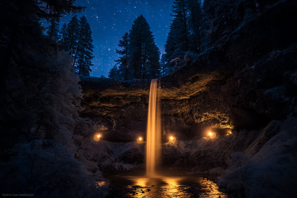 Experimental lighting illuminates the 177 foot South Falls of Oregon's Silver Falls State Park.  Still image from Invisible Oregon time-lapse sequence. IR converted Nikon D750.  © 2016 Sam Forencich