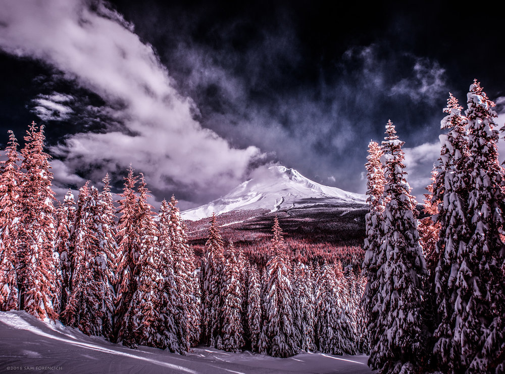 Clouds clear on the slopes of Ski Bowl to reveal Mt Hood after a December storm. Channel swapped infrared, IR converted Nikon D750.  ©2016 Sam Forencich