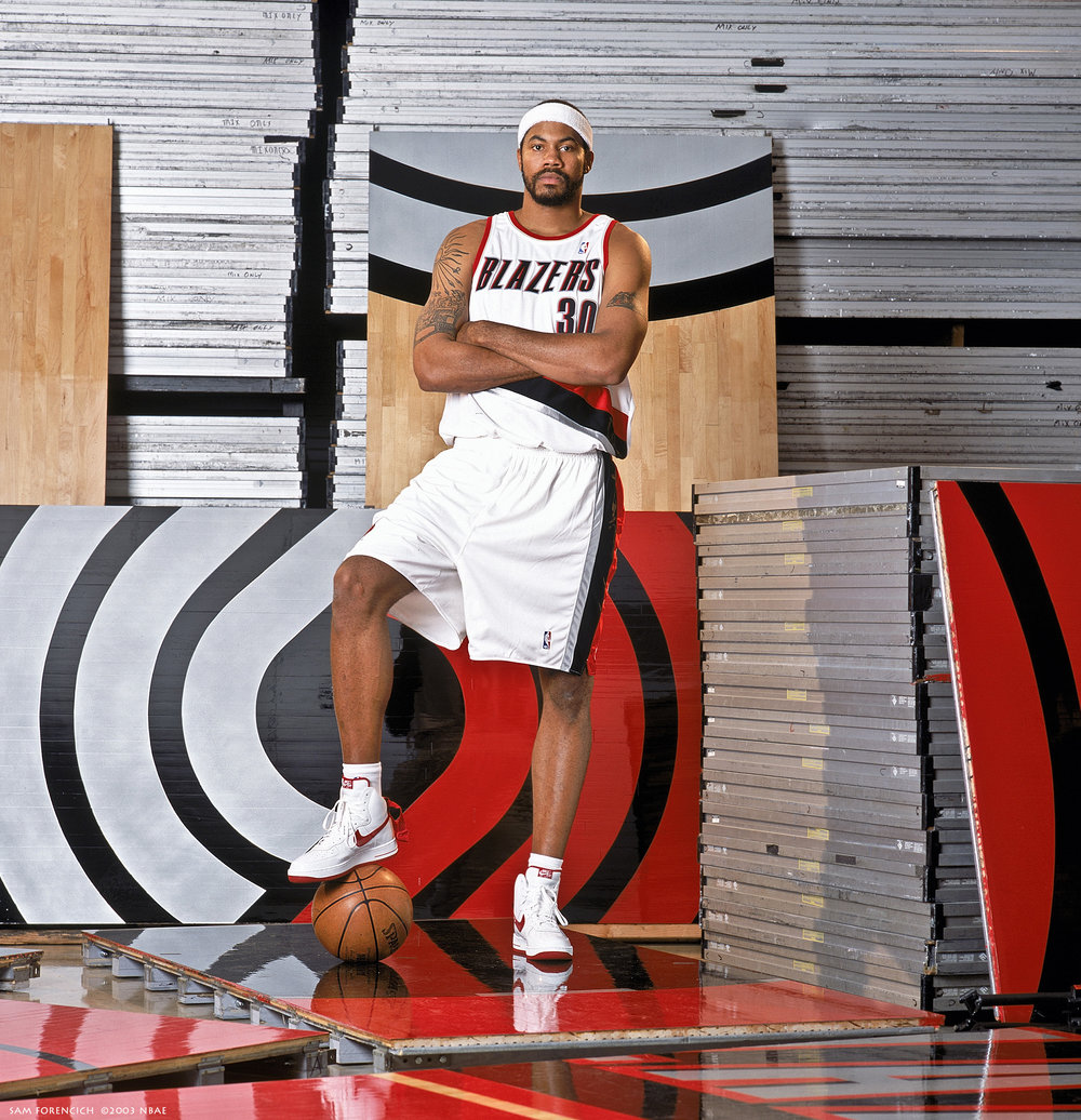 Portland, OR - Rasheed Wallace #30 of the Portland Trail Blazers poses for a portrait during NBA Media Day at the Rose Garden on October 2, 2003. Manually focused Hasselblad, RDP 100, studio lighting.  Sam Forencich ©2013 NBAE