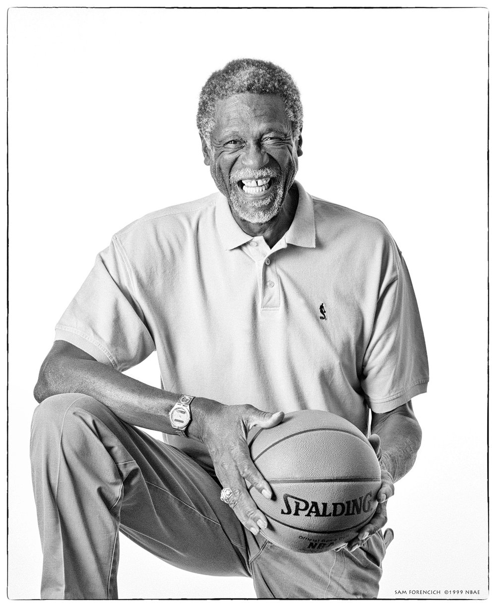 Danville, CA - Portrait of former Boston Celtic Bill Russell for a promotional display in conjunction with the NBA Store opening in downtown Manhattan in 1999. Manually focused Hasselblad, Tmax 100 film, studio lighting.  Sam Forencich ©1999 NBAE