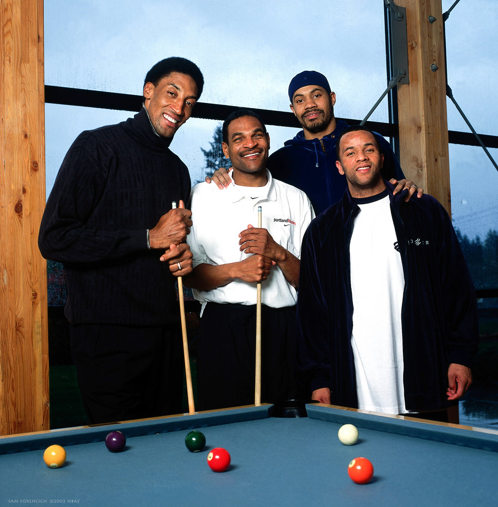 Portland, OR -  Scottie Pippen, head coach Maurice Cheeks, Rasheed Wallace and Damon Stoudamire of the Portland Trailblazers pose for a portrait at the team's practice facility April 22, 2002. Manually focused Hasselblad, RDP 100 film studio lighting.  Sam Forencich ©2002 NBAE