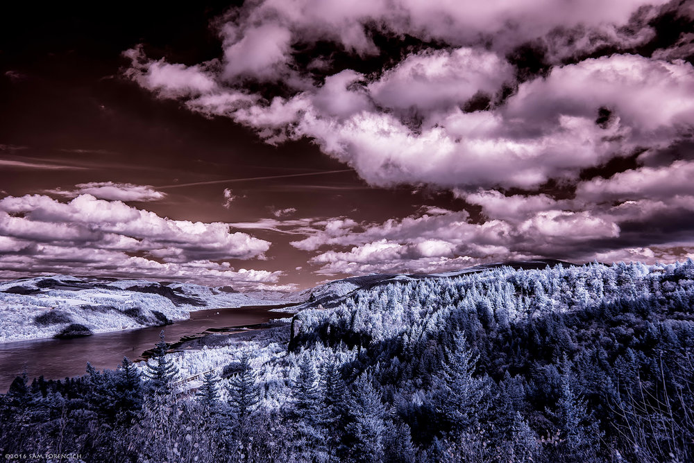 Clouds pass over the Columbia River Gorge looking east towards Crown Point. Still image from Invisible Oregon time-lapse sequence. IR converted Nikon D750, HDR post processing.  © 2016 Sam Forencich