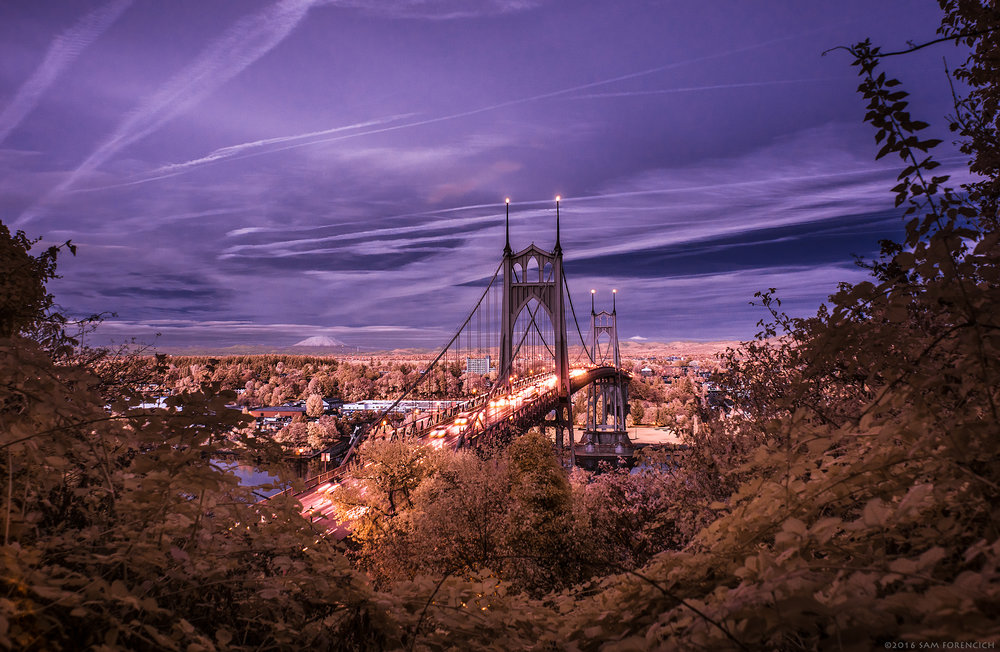 Twilight falls over the St. Johns Bridge in Portland, Oregon. IR converted Nikon D750.  © 2016 Sam Forencich