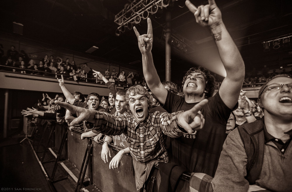 January 2011, Portland, Oregon - Fans react during the Joe Satriani performance at the Roseland Theater - 2011 Black Swans and Wormhole Wizards Tour  ©2011 Sam Forencich