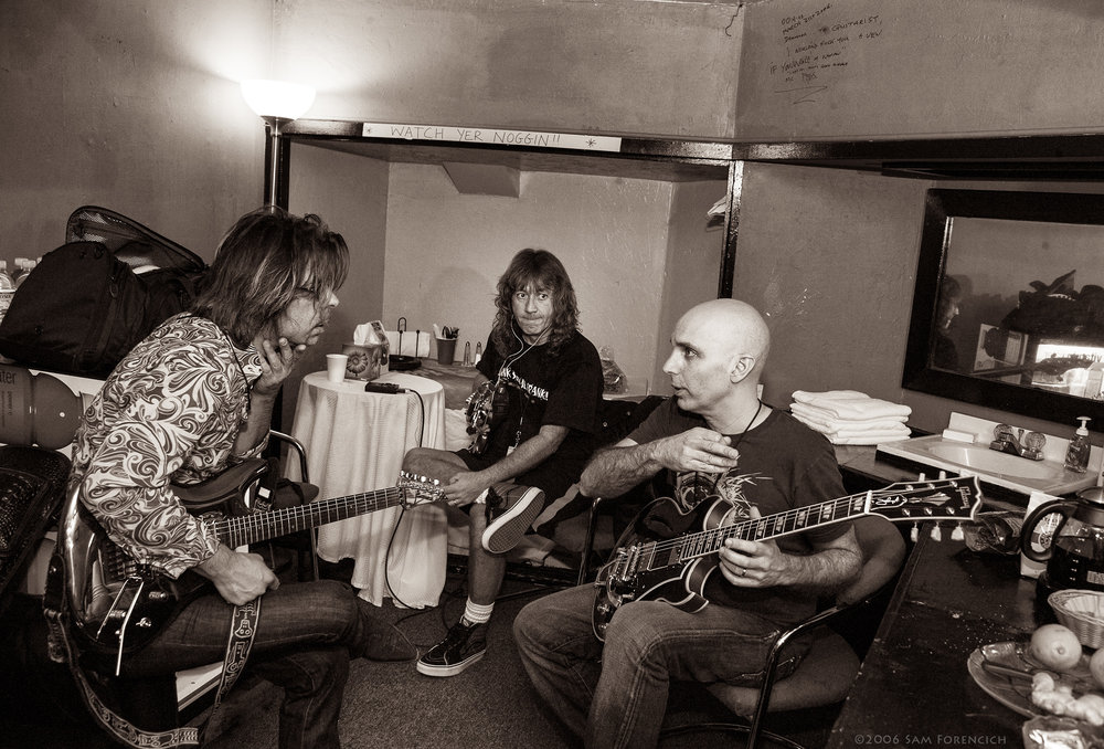 May 2006, San Francisco, California - Joe Satriani, guest Jonny A. and bassist Dave LaRue discuss their upcoming performance backstage at the Warfield Theater - 2006 Super Colossal Tour  ©2006 Sam Forencich