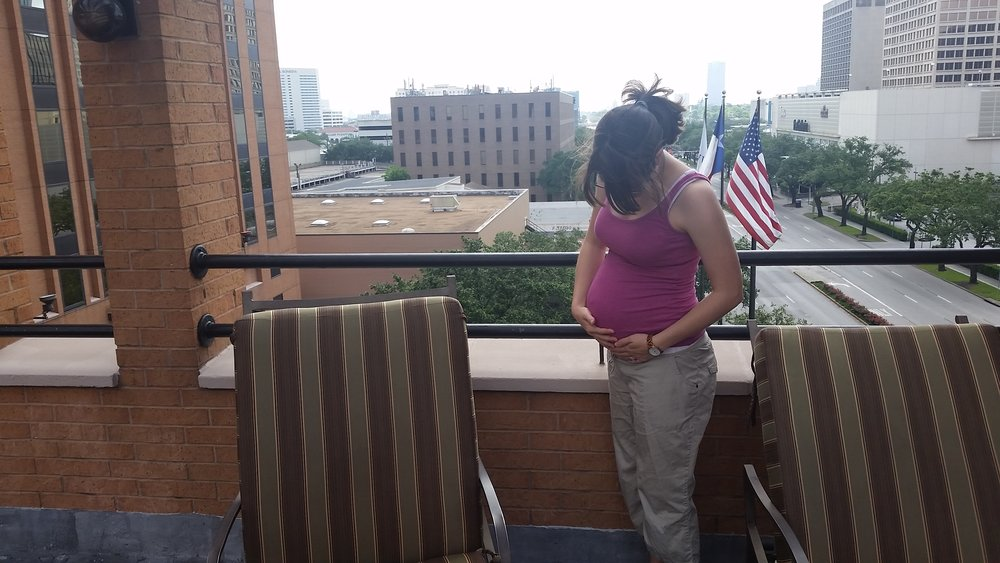 Me, 6 months pregnant on a trip to Houston