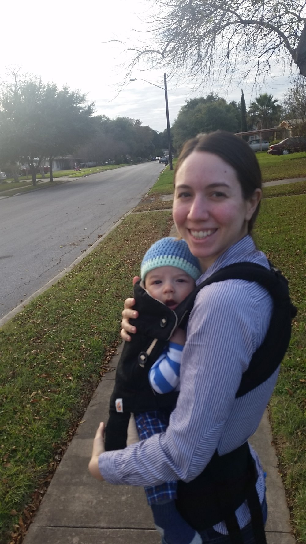 My first walk, post surgery, where I could carry Ezra in his baby carrier. I remember thinking that this was the edgiest thing I'd done in awhile... Ezra's nap was at 5PM and it was 4:30PM when we left for a walk ~so wild~