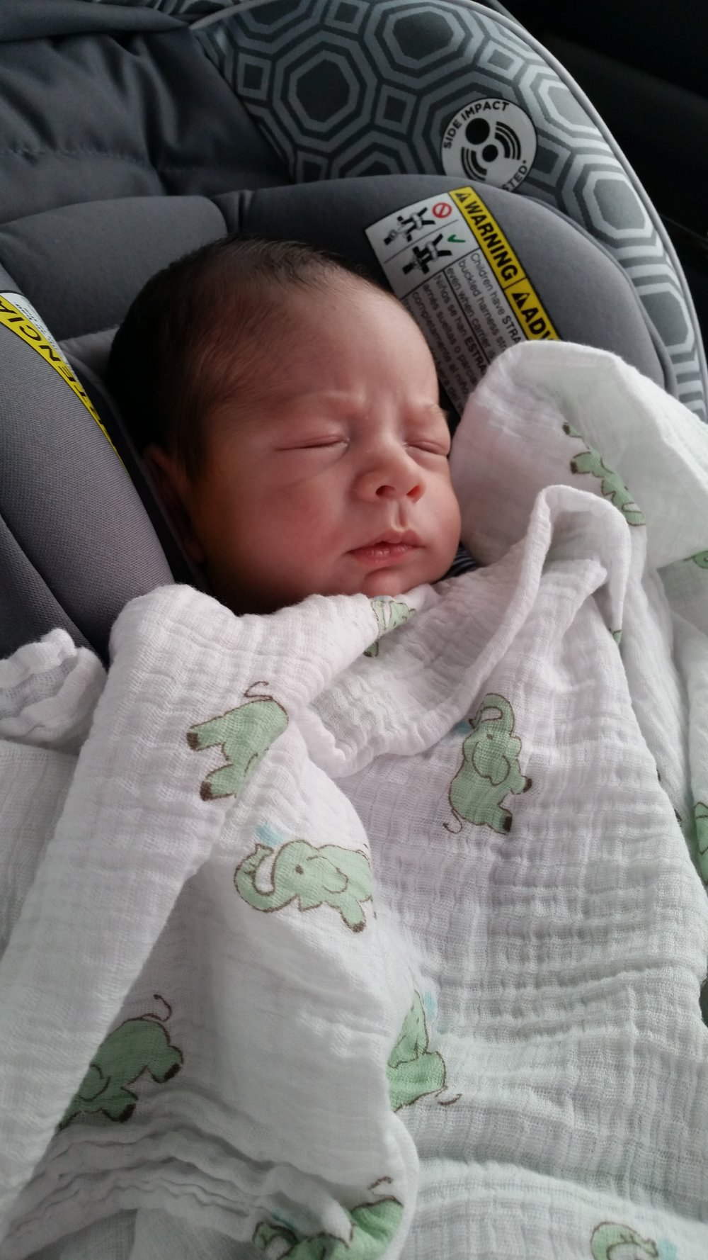 Ezra on his way home from his first doctor's appointment.