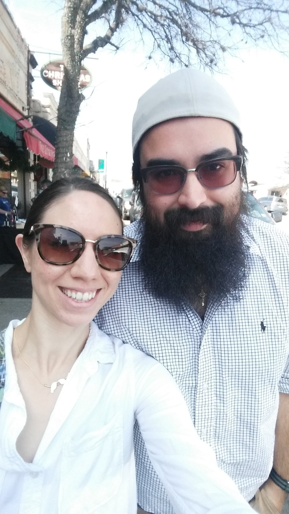 David and I on a day date in downtown Boerne, TX