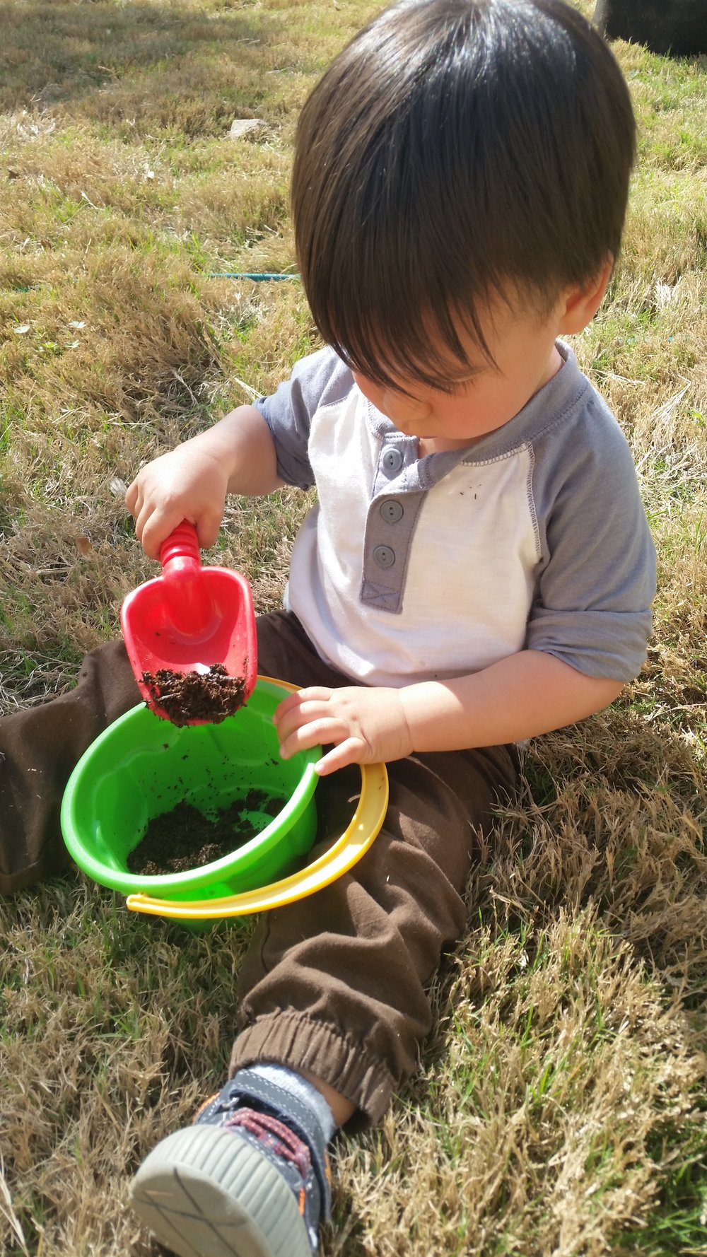 "Ezra ""planting seeds"" in his little bucket"