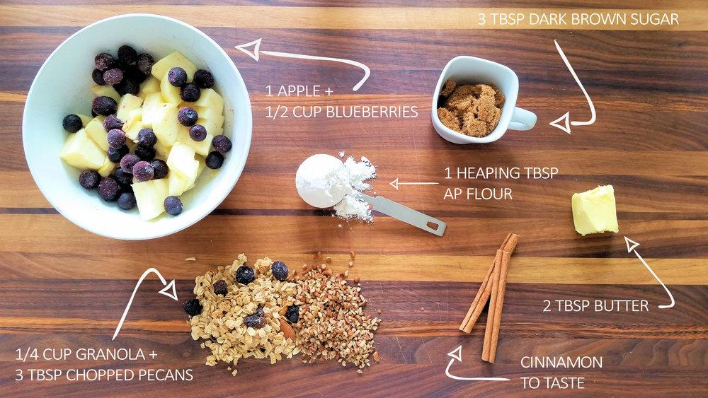 Simple 5 minute apple blueberry mug crisp
