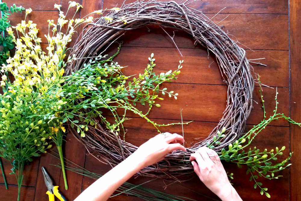 DIY Spring Wreath - how to place branches