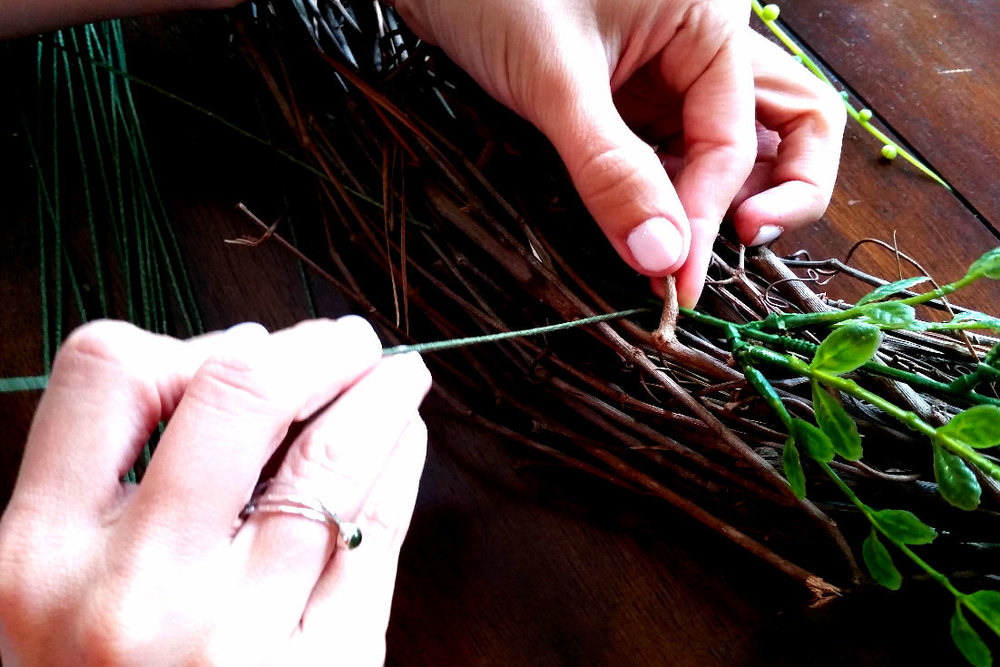 DIY Spring Wreath - How to Tie on Branches Using Floral Wire