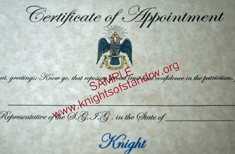 Cerificate of appointment to knight pack of 10 knights of st 2017 ksa samplecert2g yelopaper Choice Image