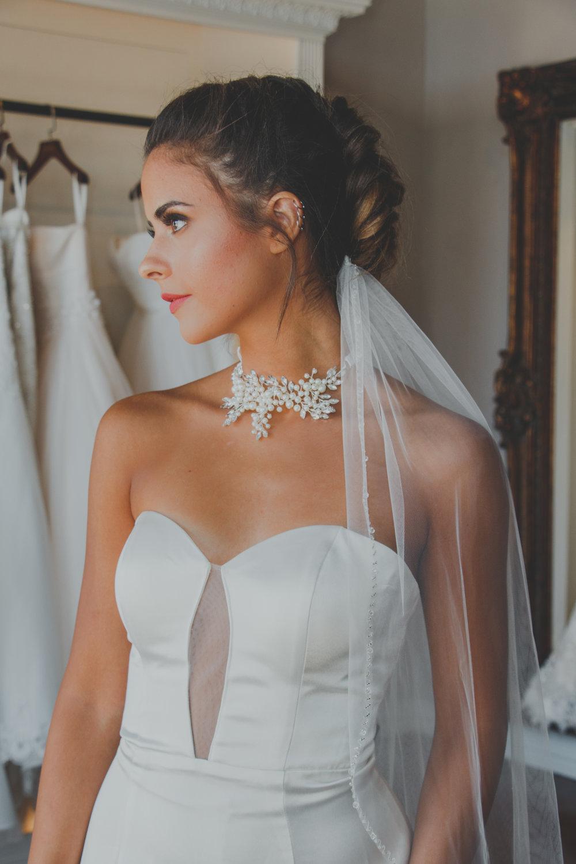 choker wedding dress satin wedding gown