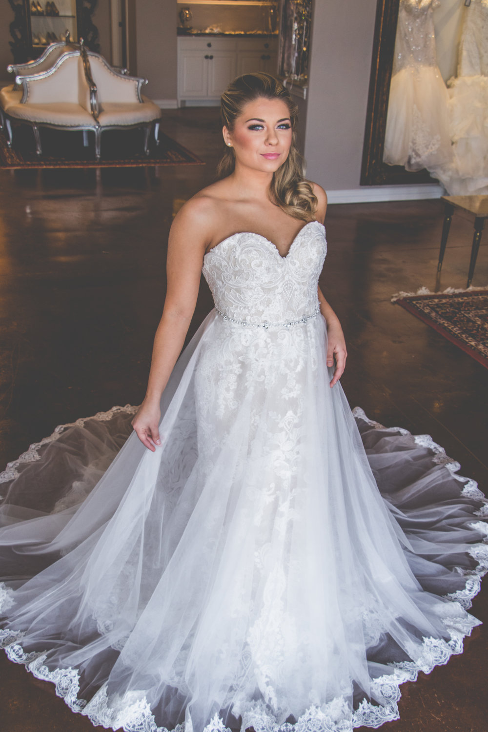 mermaid lace wedding dress with over skirt