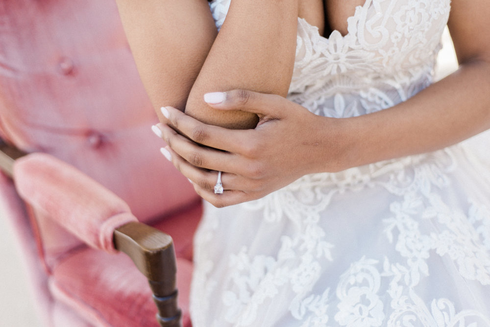 lace a-line wedding dress engagement wedding ring photography