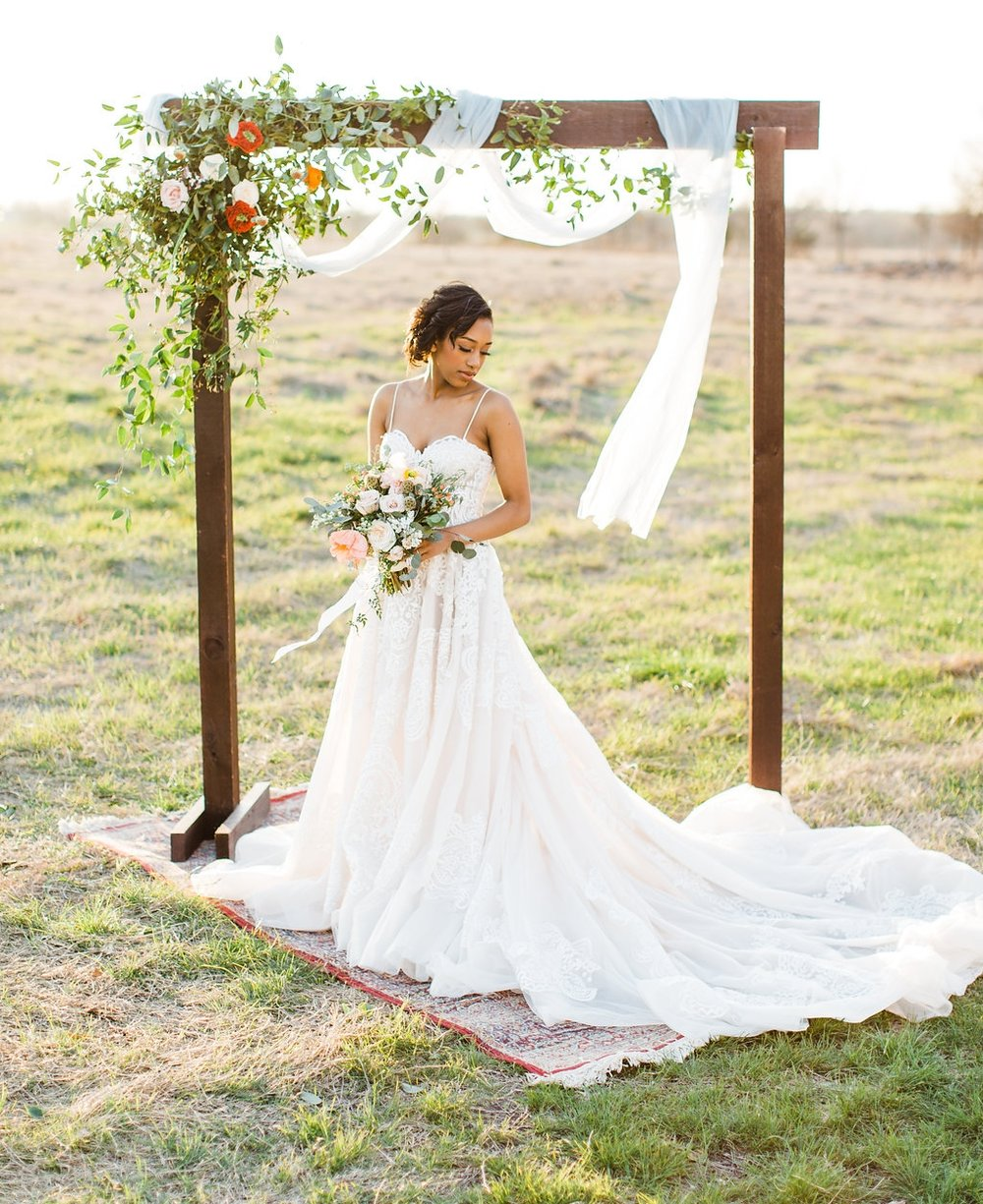 lace a-line wedding dress field photography