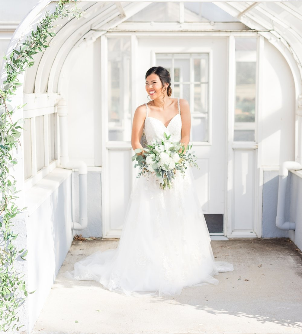 green and white wedding tulle a-line wedding dress