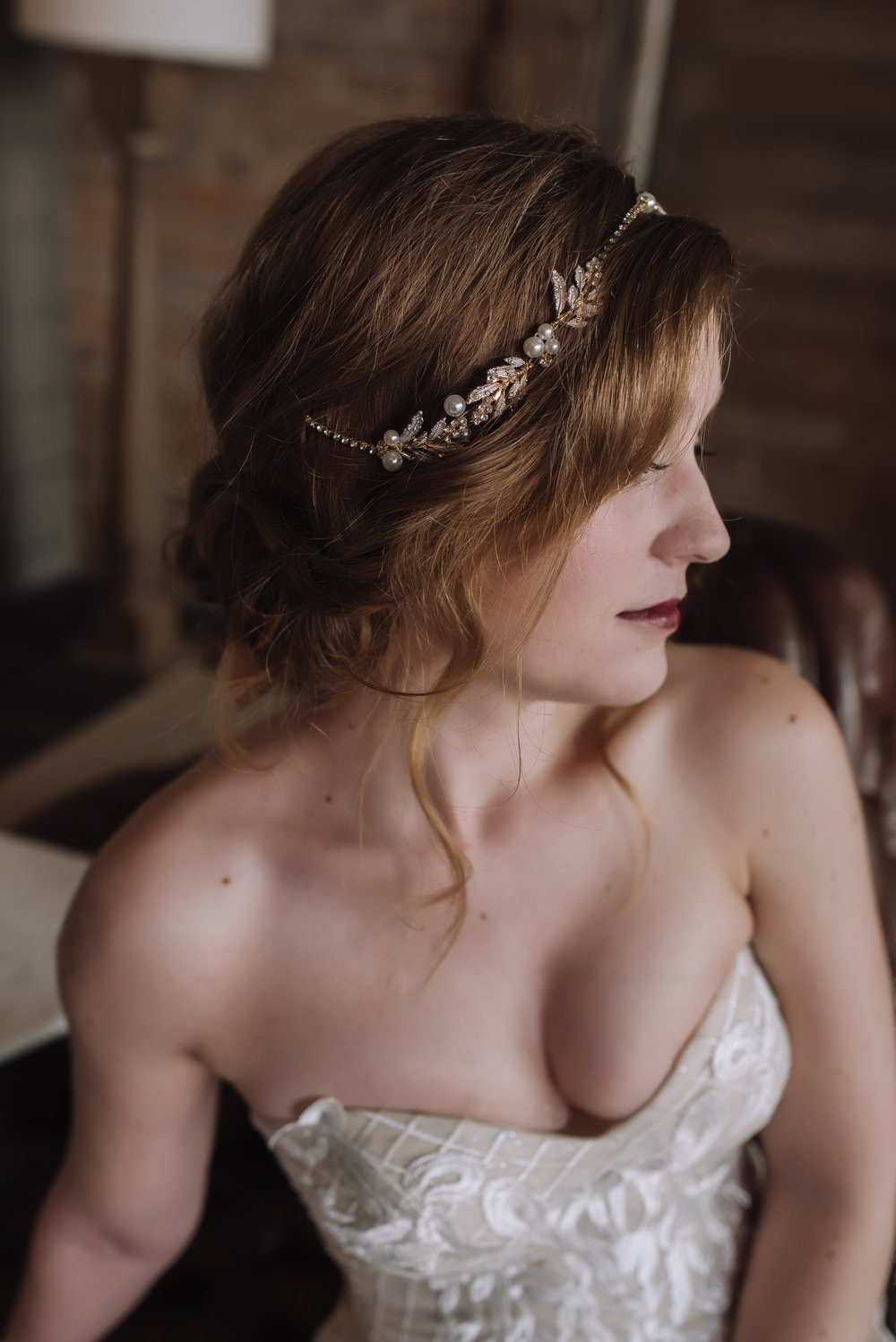 Gatsby wedding, antique headpiece, lace wedding dress