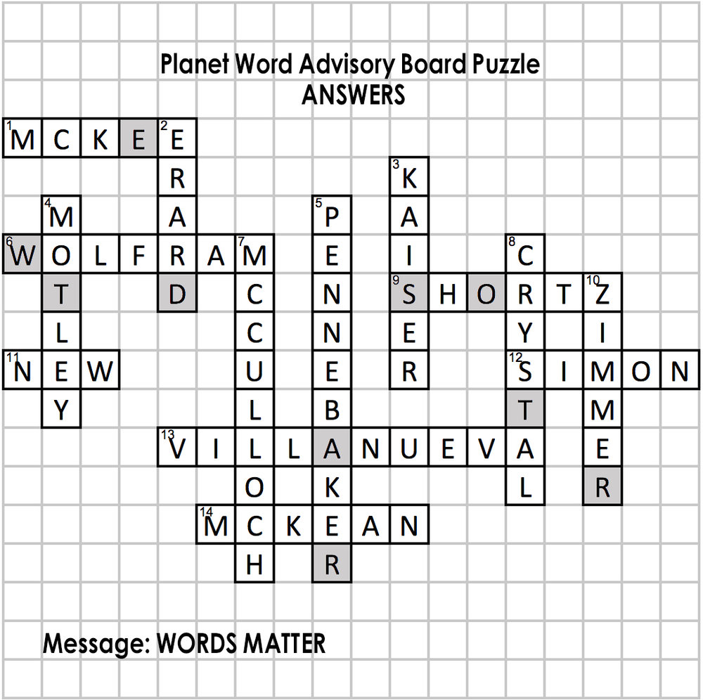 Crossword Puzzle Answers Planet Word