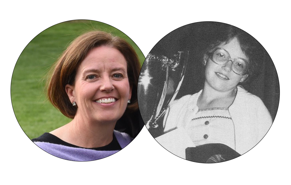 Left: Molly Dieveney Baker in 2018. Right: Molly in 1982 with her National Spelling Bee trophy.