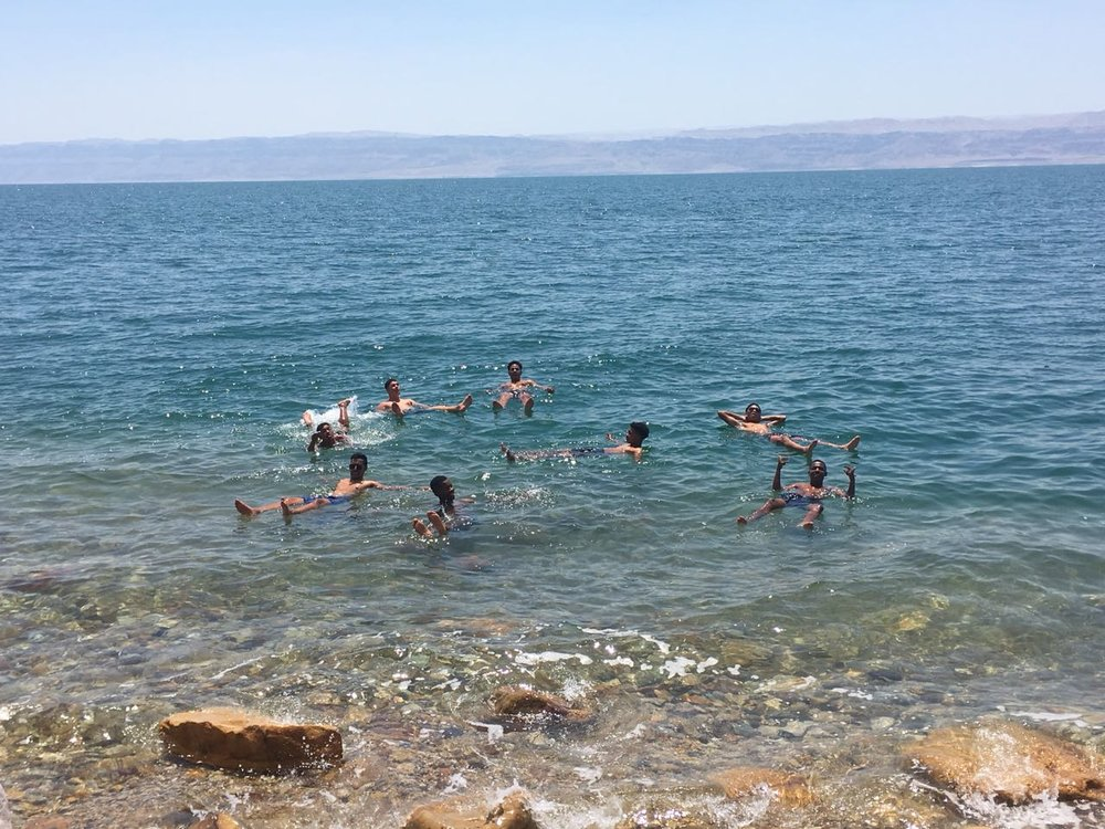 The Dead Sea - Our team floating in the Dead Sea, which is 400m below sea level, the lowest point on earth.
