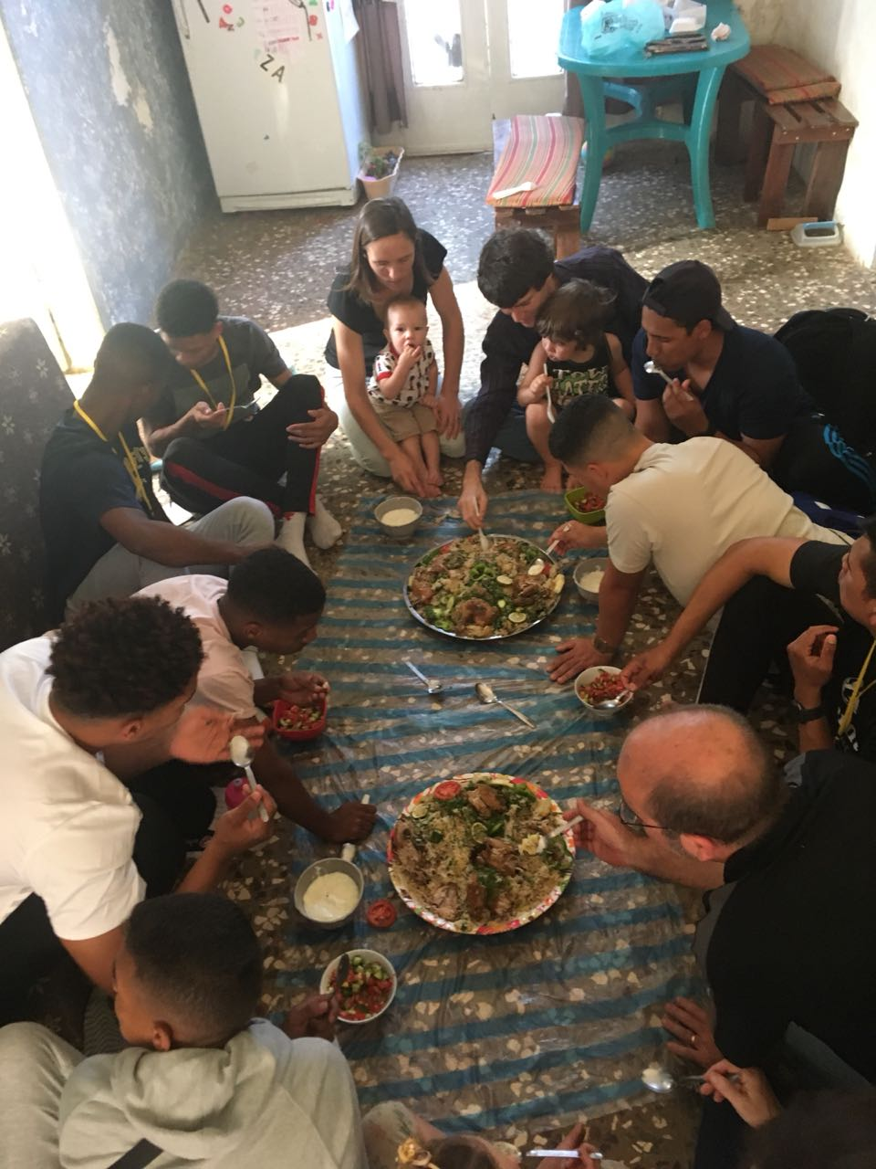 New Eats - Enjoying some tradition Middle Eastern food, this was our team's first Syrian meal on the floor.