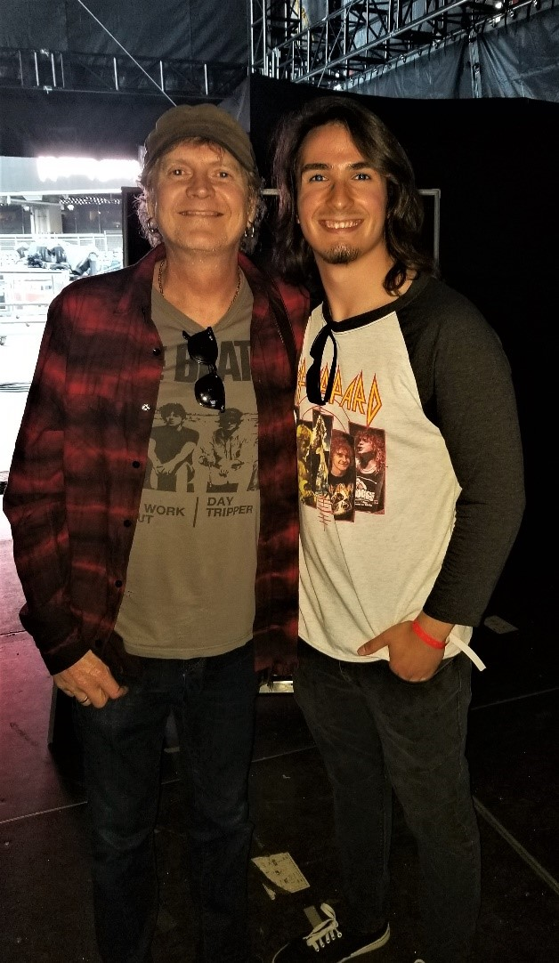 Roadie for a Day winner 2018 with Rick Allen, drummer for Def Leppard