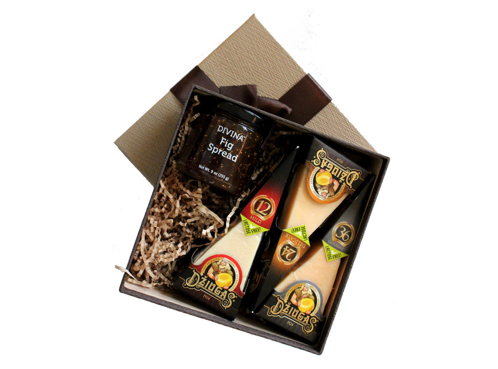 DŽIUGAS Gift Basket No.3-$39.99 Contents:Hard cheese DŽIUGAS Mild, 12-month-ripened;Hard cheese DŽIUGAS Delicate, 24-month-ripened; Hard cheese DŽIUGAS Gourmet, 36-month-ripened; Fig Spread.
