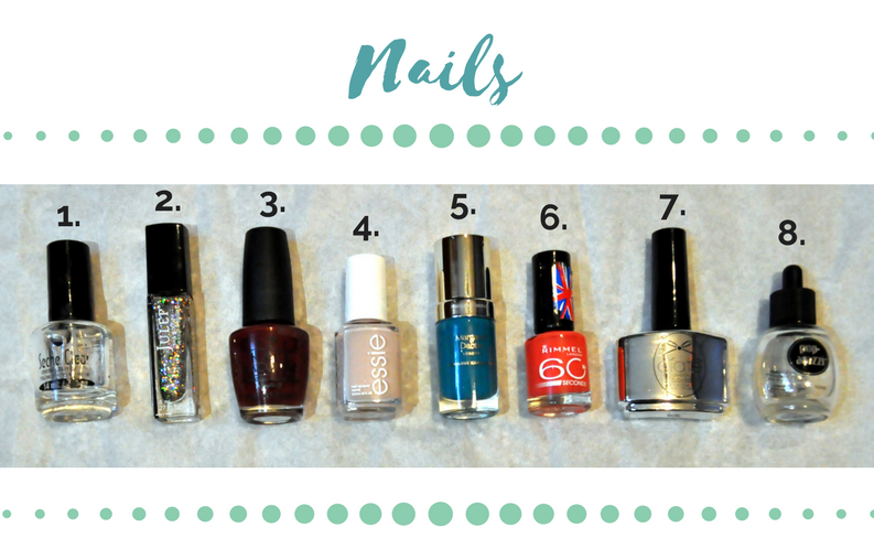 1. Seche Clear Crystal Clear Base Coat, $7.50, Ulta 2. Julep Nail Polish in Paris, $14.00, Julep.com  3. O.P.I. Nail Polish in Skyfall (Discontinued), $16.95, eBay 4. Essie Nail Polish in Topless and Barefoot, $9.00, Ulta 5. Margaret Dabbs Nail Polish in Green Daylily, $16, MargaretDabbs.co.uk  6. Rimmel London 60 Seconds Nail Polish in Hot Chili Pepper, various prices, eBay (different colors can be found at CVS, Walgreen's, etc.!) 7. Ciaté London Gelology Topcoat, $14, CiateLondon.com  8. Pop-Arazzi Quick Drying Drops, $2.99, CVS