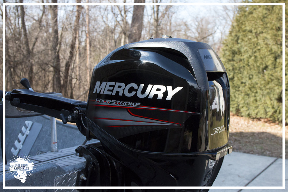 The heart of our adventures... the ever faithful Mercury 60/40 Jet Outboard