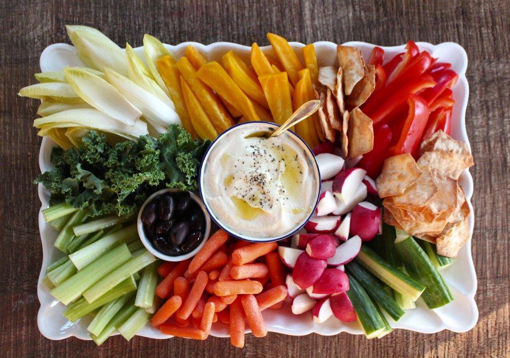 vegetables on flat platter with soft vegan cheese as dip.jpg