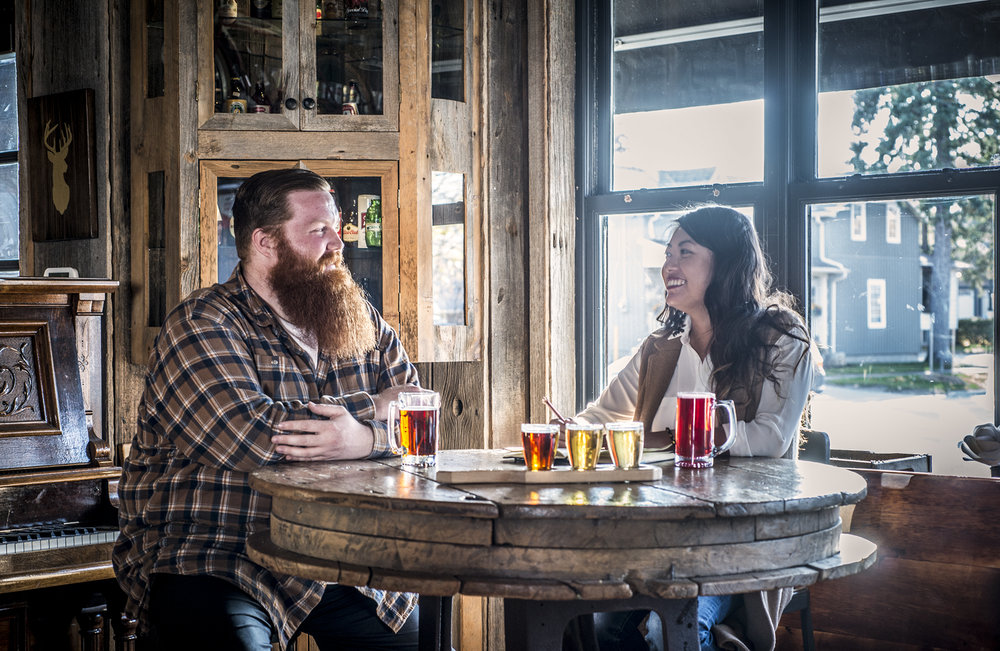 Lady Travelling tries craft beer tasting with Mark 'Big Red' Forderer at Old Flame Brewing Co., Port Perry