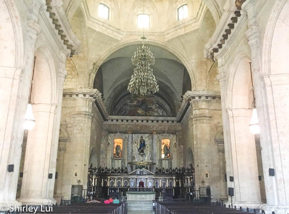 Inside the Havana Cathedral in Havana, Cuba.