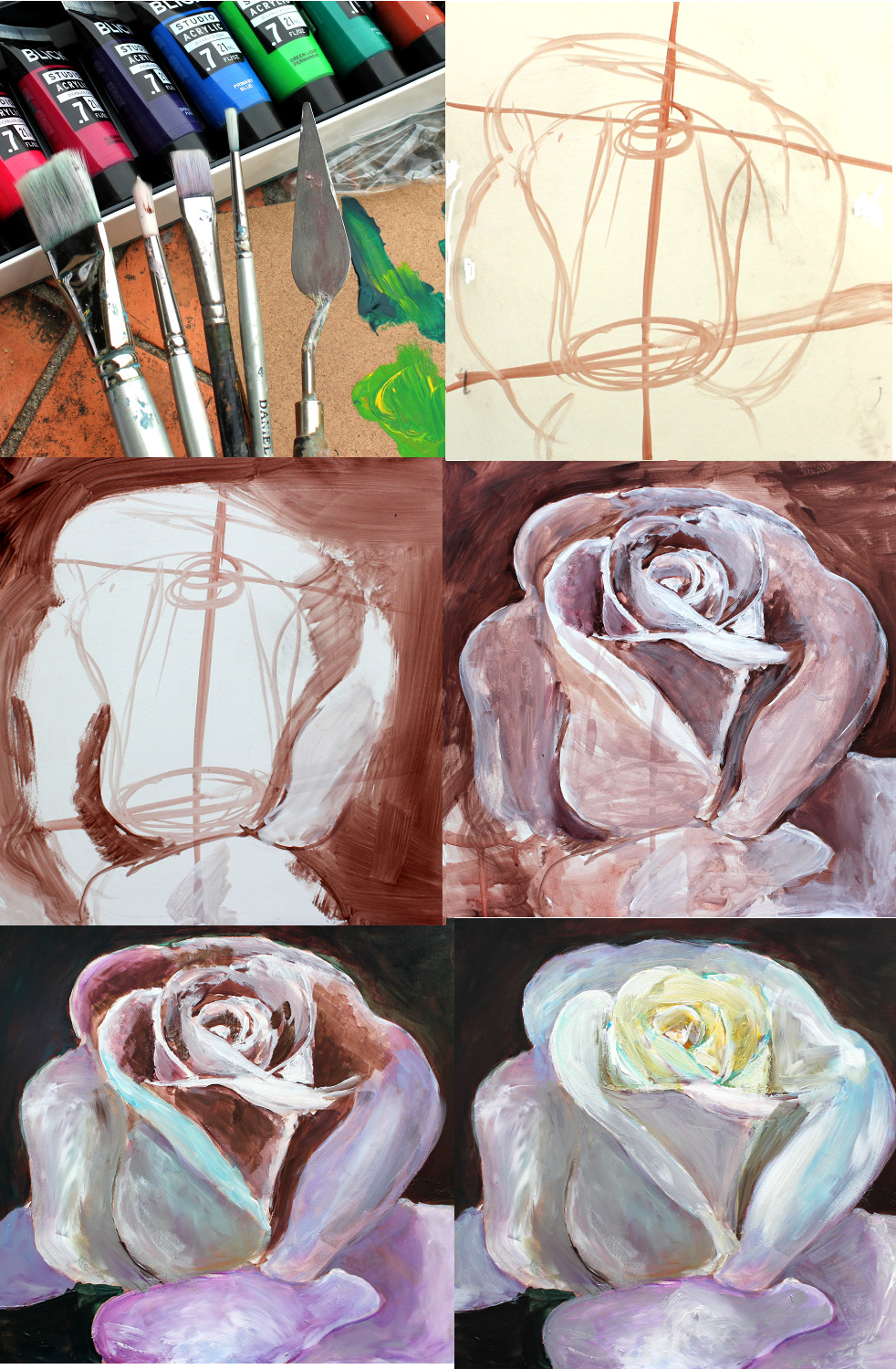 White rose with a single-color underpainting - painting