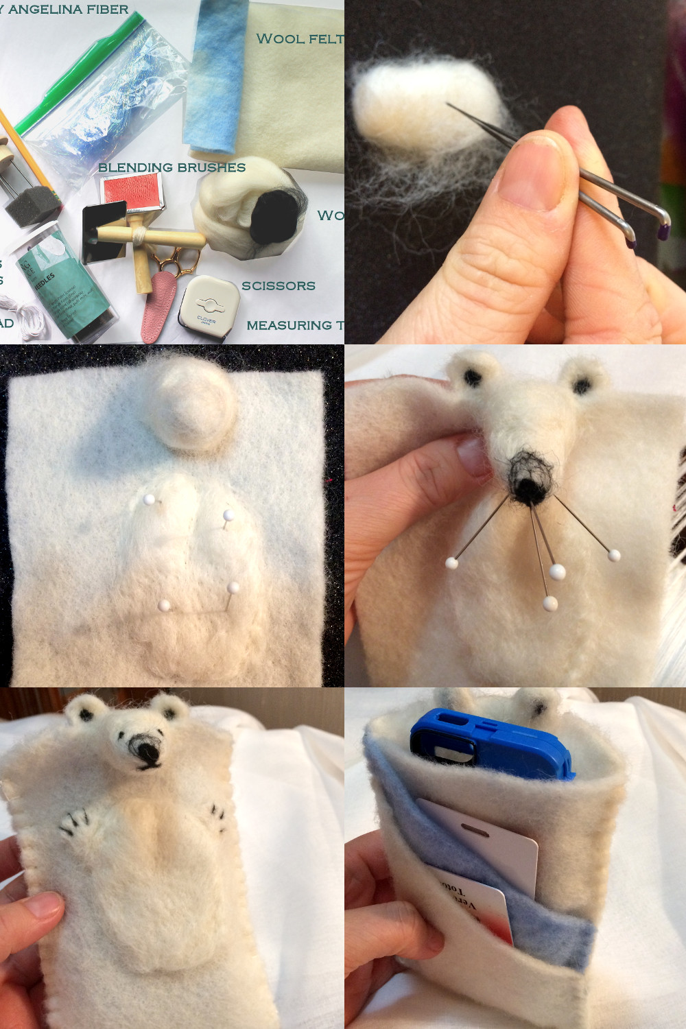 Polar Bear phone sleeve - needle felting