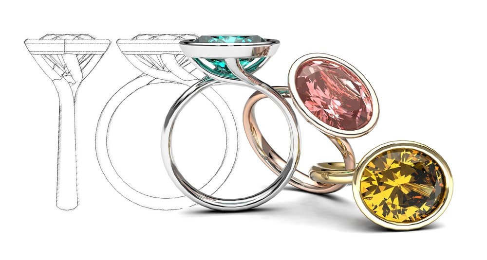 Bespoke Dress Rings from design to reality. Custom made for you with your choice of Gemstone, Precious Metal and Shank design.