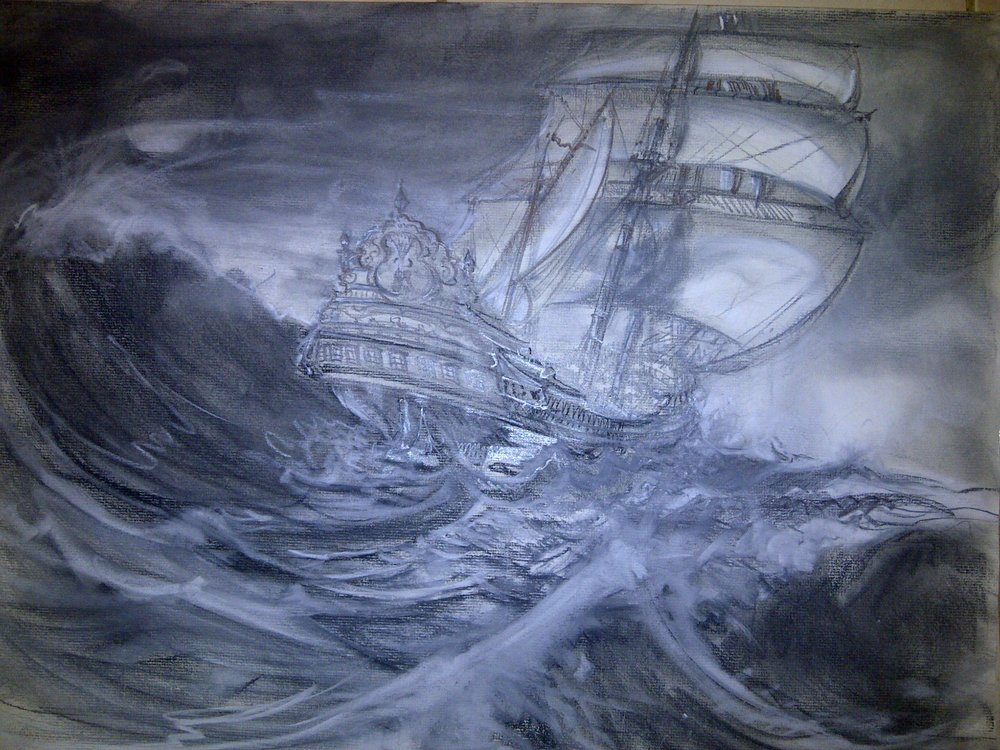 Ship in Stormy Sea (Buckley Smith)