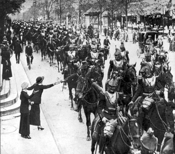 Cavalry on the eve of the Battle of the Frontiers, 1914. The romance of war as felt by those riding off, and as exemplified in pre-WWI songs